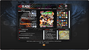 Website Design for CLACK! Industries, Silkscreen and Graphic Design